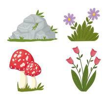 bundle of landscape set icons vector