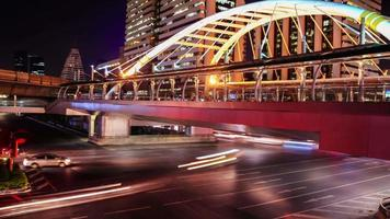 Night City at Sathorn Intersection Timelapse - Bangkok Thailand video