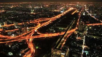 Night city traffic from top view in Bangkok-Thailand Timelapse video