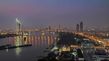 Rama 9 Bridge in Thailand at Twilight Time Lapse video