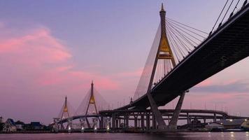 Bhumibol Bridge in Thailand at Twilight Time Lapse video