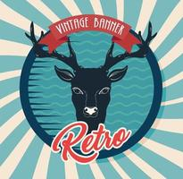 vintage banner with reindeer and ribbon vector
