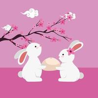 rabbits group witth tree branch floral scene vector