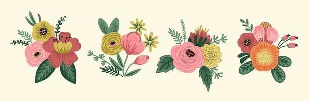 Vector illustration bouquets of flowers. Design template