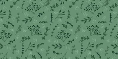 Green floral seamless pattern. Modern abstract design vector