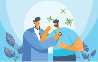 Doctor taking care of patient illustration vector concept