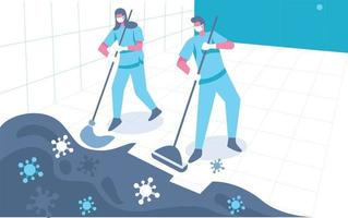 Cleaning up bacteria illustration concept vector