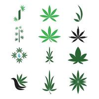 Cannabis Marijuana Hemp Pot Leaf Silhouettes Logo Vector