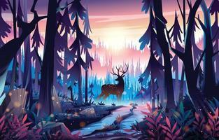 Reindeer in The Nature Concept vector