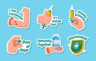 juego de pegatinas de vacuna covid-19 vector