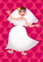 The Blushing Bride on Her Wedding Day vector