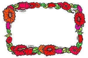 Floral Poppy Page Border Decoration vector
