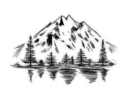 Mountain landscape with lake and firs. Hand drawn scetch vector