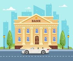 Bank building on the background of the city. White car near the bank vector
