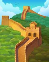 The great Wall of China. Vector illustration.