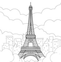 Eiffel Tower in Paris. Linear drawing. Vector line illustration.