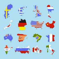 Set of Flags of Different States in the Form of the Country vector