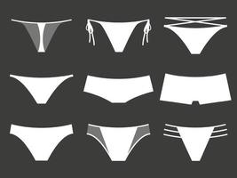 Set of Womens Underwear on a Black Background vector