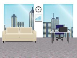 Office Interior with Panoramic Windows vector