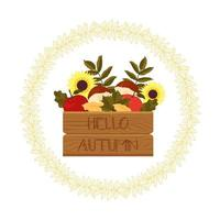 Beautiful Frame with Box and the Harvest and Leaves vector