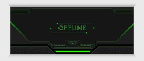 futuristic green and black gaming banner and cover design template vector