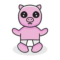 baby pig cartoon wearing diapers. illustration for t shirt vector