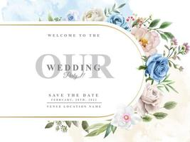 Wedding invitation with beautiful floral watercolor vector