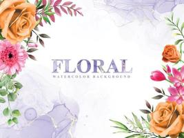 Abstract and floral watercolor background vector
