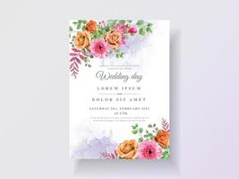 Abstract and floral watercolor wedding invitations vector