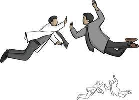 dos hombres de negocios saltan a chocar los cinco en el vector de aire
