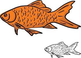 orange fish vector illustration sketch doodle hand drawn