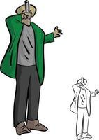 cantante de rap masculino con ilustración de vector de micrófono