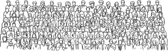 doodle crowd business people on meeting room vector