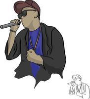 rapero, tenencia, micrófono, vector, ilustración vector