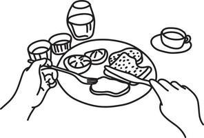 POV close-up man having meal vector illustration