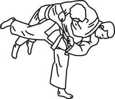 Arte marcial de judo - ilustración vectorial boceto dibujado a mano vector