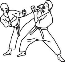 Atletas de karate - ilustración vectorial boceto dibujado a mano vector