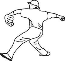 Baseball pitcher throws ball - vector illustration