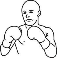 lucha contra el boxeador - ilustración vectorial boceto dibujado a mano vector