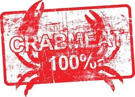 crabmeat 100 percent - red rubber dirty grungy stamp vector