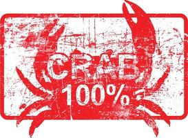 crab 100 percent - red rubber dirty grungy stamp vector