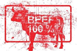 beef 100 per cent - red rubber grungy stamp vector