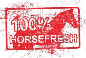 horsefresh - red rubber grungy stamp in rectangular vector