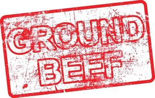 ground beef - red rubber dirty grungy stamp vector