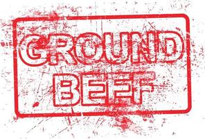 ground beef - red rubber grungy stamp in rectangular vector