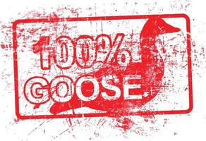 100 per cent goose - red rubber grungy stamp vector