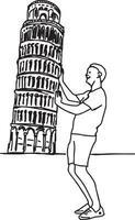 tourist push leaning tower of pisa - vector illustration