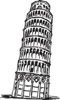 leaning tower of pisa - vector illustration sketch