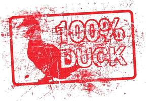 100 per cent duck -  red rubber grungy stamp vector