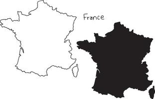 outline and silhouette map of France - vector